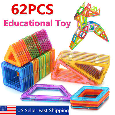 62Pcs Magnetic Building Blocks Construction Children Toys Educational Block Kids
