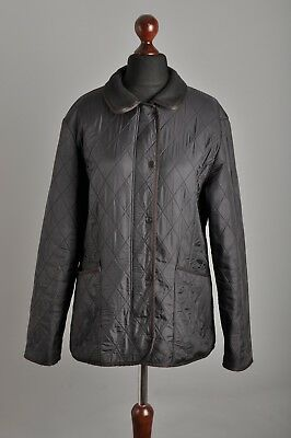 Women's BARBOUR Polarquilt Quilted Black Fleece Lining Jacket Coat Size 16