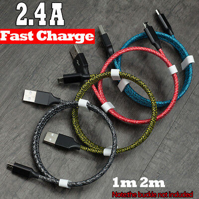 1-3m Strong Braided Micro USB Data Charger Cable Cord For Android Samsung Xiaomi
