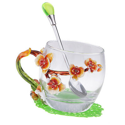 Tea Cup Coffee Mug Cups Enamel Glass with Water Drop Spoon and Cup Coaster