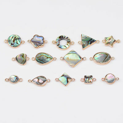 Natural Gemstone Abalone Shell Heart Star Ring Flower Square Bracelet Connector