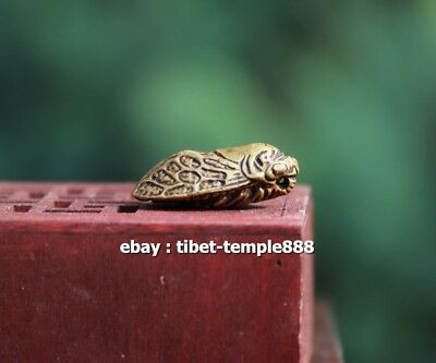 2.5 CM Chinese Bronze Handwork cicada insect Lucky Animal Statue Amulet Pendant