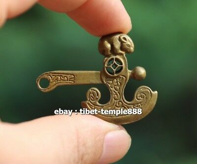 4.5 CM Chinese Pure Bronze mouse axe Counteract Evil Force Animal Amulet Pendant