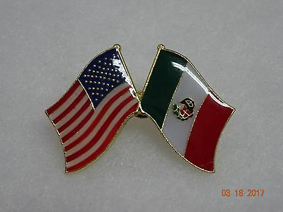 Mexican flag w/American flag on side  lapel Pin  Very nice metal pin  New!!