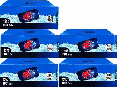 RC Cola Labels 5 Small 12oz Can Soda Vending Machine Calories Royal Crown Labels