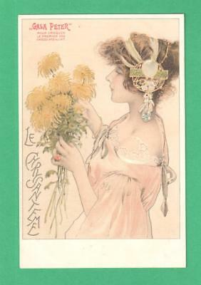 "Early Vintage Art Nouveau Advertising Postcard ""gala Peter"" Chocolates Lady Mums"