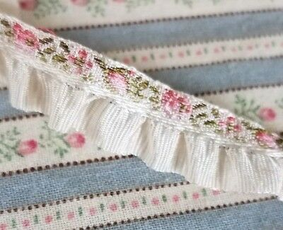 French Ribbon Embroidered Jacquard Brocade Doll Trim Ruffle Tiny Pink Rose 2 Yds