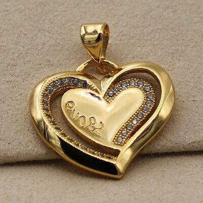 18K Gold Filled - White Topaz Heart Gemstone Hollow Zircon Pageant Lady Pendant
