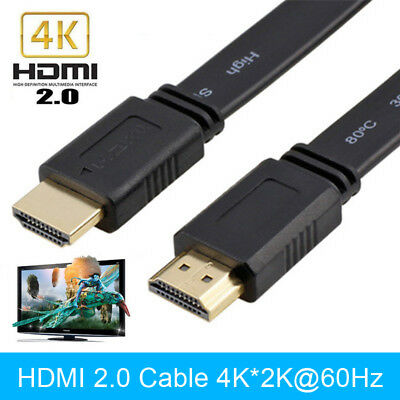 Flat 4K HDMI 2.0 Cable Male to Male HDMI Lead Wire Cord for HDTV Sky Xbox PS4