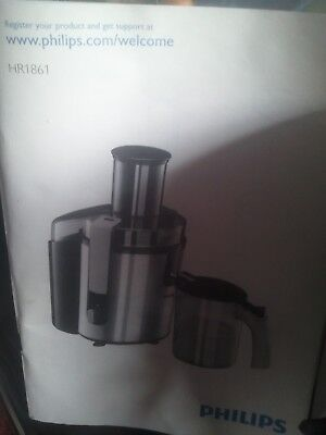 philips juicer hr1861 used twice complete with manual recipe book rh picclick co uk Philips Juicer 2017 Philips Mini Juicer