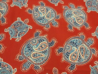 "TOMMY BAHAMA ""Tranquil Turtles"" Red Blue White Outdoor Fabric 1YDx56"" REMANENT"