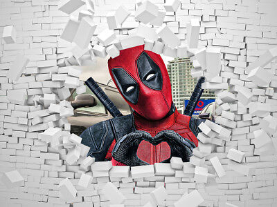 Deadpool Super Hero Feature Wall Art Mural Wall Paper Self Adhesive Vinyl V1