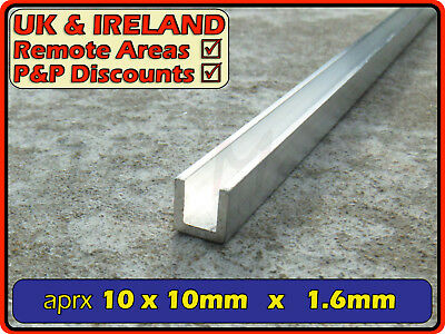 "Aluminium Channel (C U section, gutter, profile, glazing,alloy) | 3/8"" x 3/8"""