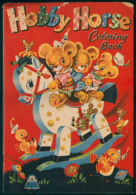 Uncolored Hobby Horse Coloring Book 3453 Merrill 1943
