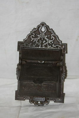 Victorian Ornate Eastlake Cast Iron Wall Mount Match Safe