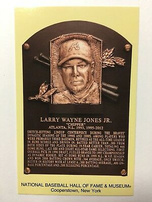 CHIPPER JONES -Baseball Hall of Fame- INDUCTION Plaque Postcard- 2018