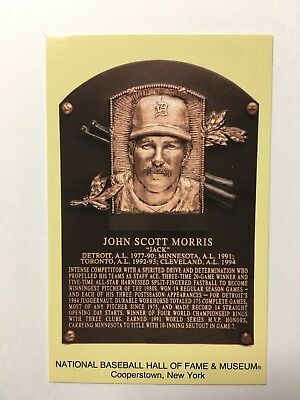 JACK MORRIS -Baseball Hall of Fame- INDUCTION Plaque Postcard- 2018