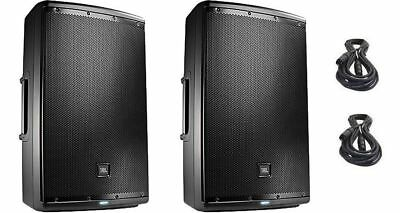 "2 NEW JBL EON615 - 1000W 15"" 2-Way Powered Speaker with Free XLR Cables"