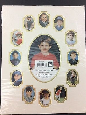 11x14 SCHOOL DAYS Baby's First Year Memory Collage Mat 13 Openings Ivory Gold