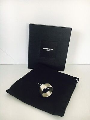 Saint Laurent YSL Old Silver Square Bague Strip Ring Size 11 Men  JEWELRY