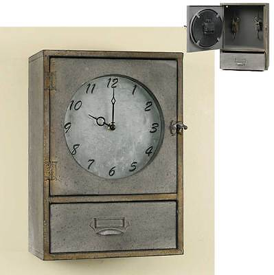 Primitive Industrial Style Metal Wall Clock Key Holder Cabinet With Drawer