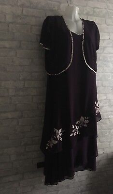 A Gorgeous Plum  Coloured Dress And Bolero Jacket From Jacques Vert In Size 22