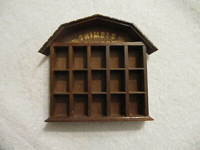 "Vintage Wood Thimble ""Holder"" Country barn shaped, 7""Hx 6 3/4""W"