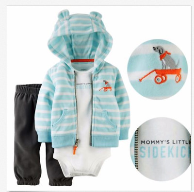 Carters Baby Boys 3pc Set Pants Outfit (Mommy's Little Sidekick) 9m,12M18M,24M