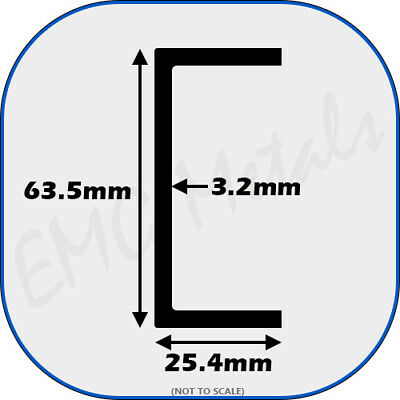 "Aluminium Channel (C U section, gutter, profile,edging,alloy) | 2.5"" x 1"""