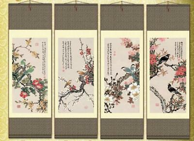 4Pc Chinese Silk Scroll Painting Gongbi Flowers Bird Calligraphy Home Decoration