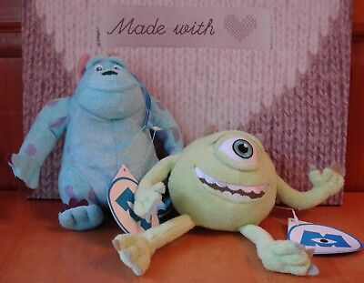 Sully and Mikey from Monsters Inc wash sponge soft toys Disney Pixar BNWT