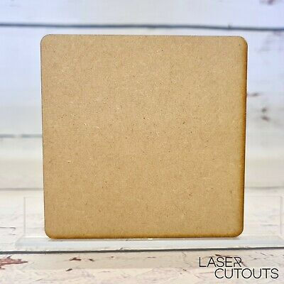 Lasercut Wooden Square Shape Coaster, MDF, Blank, 100mm (10cm), Crafting