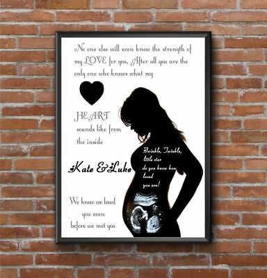 Personalised - Baby Scan Photo Print / Frame - Maternity / Baby Shower Gift