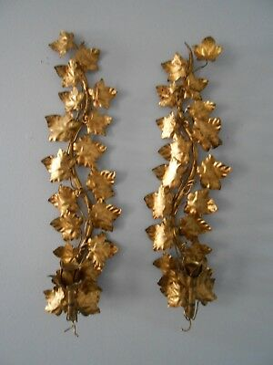 Pair Vintage Italian Tole Gilt Wall Sconces Candle Holders Hollywood Regency