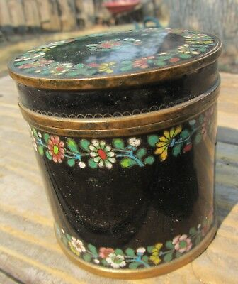 Rare Antique Chinese Cloisonne Jar Tea Caddy Bronze Heavy 19th Cent Cylinder