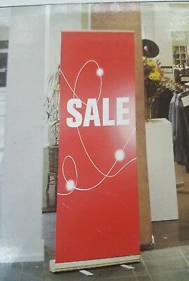 """Retractable Roll Up Banner 33"""" x 80"""" Stand NEW Sale Sign"""