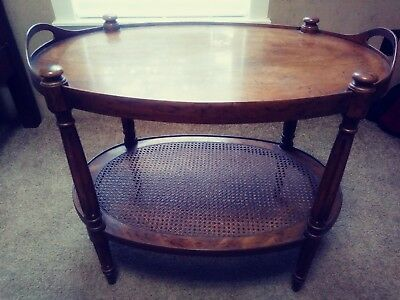 Heritage Vintage French Louis XVI Style Burl Walnut 2 Tier Oval Side Tabl