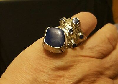 Wow !  Sz 6  Bold Chunky Solid Sterling Silver Trilogy Lapis Lazuli Ring