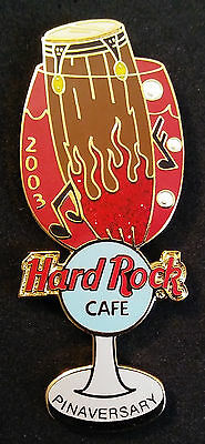Hard Rock Cafe 2003 PINAVERSARY Wine Goblet with Drum Pin LE