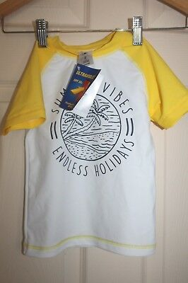 New with Tags Childrens yellow and white SWIM TOP/Rash vest size 2