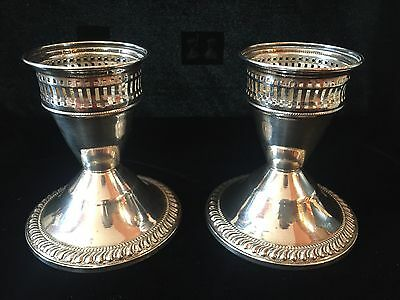 Vintage Pair Of Duchin Creation Sterling Weighted Candlesticks