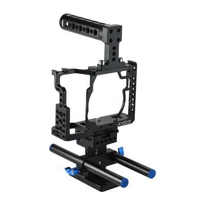 Andoer Aluminum Alloy Camera Cage + Top Handle + 15mm Rod Baseplate Kit M7C7