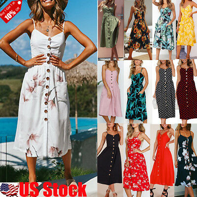 Womens Sexy Strappy Button Pocket Dress Summer Beach Casual Midi Swing Sun Dress