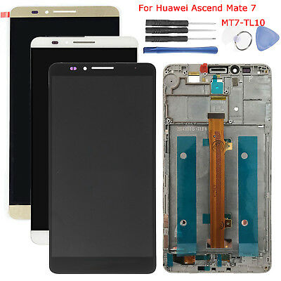 Display Lcd + Touch Screen + Cover Frame Per Huawei Ascend Mate 7 Mt7-Tl10 #Bk