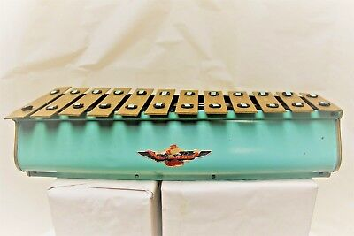 Antique Tudor Xylophone – Made in USA – Light Turquoise with Brass Notes