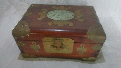 Org Vintage Wooden & Brass Oriental Jewelry Box- Bone Ivory or Jade Inlay