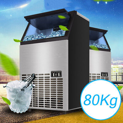 80KG 176Lbs Commercial Ice Cube Maker Machines Freezers Frozen Drink Bar 220V US