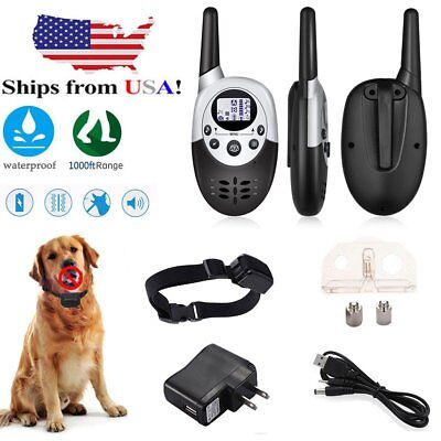 1000Yard Shock Vibrate Remote Training Collar Waterproof Large Med Small Dog BT