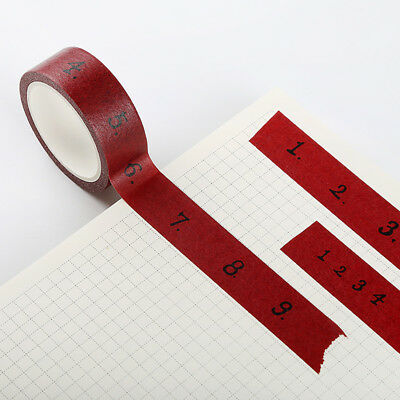 """""""Red Numbers"""" 1 Roll Masking Washi Tape Scrapbooking Study Decor Stickers Tape"""