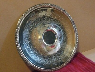 """Leonard Silver Plate Round Serving Tray, 12"""""""